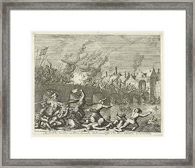 Spaniards Killing People In Maastricht, 1579 Framed Print by Jan Luyken
