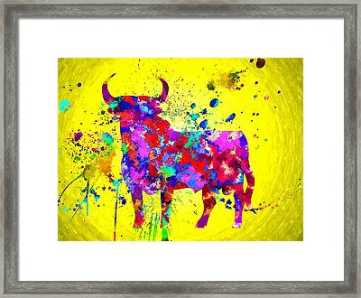 Spanish Bull Framed Print by Daniel Janda