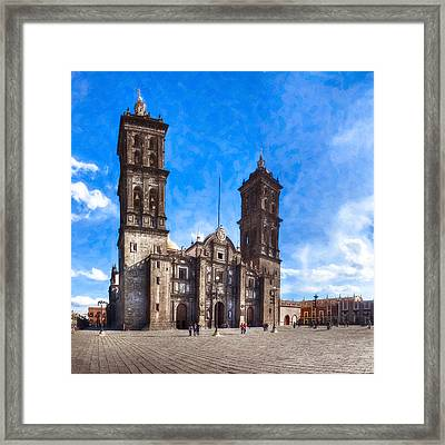 Spanish Colonial Cathedral Of Puebla Mexico Framed Print