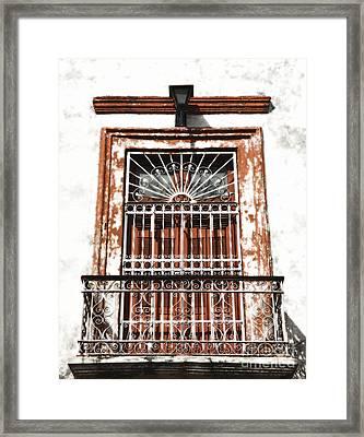 Spanish Colonial Wrought Iron Balcony Veranda In Merida Mexico Diffuse Glow Digital Art Framed Print by Shawn O'Brien