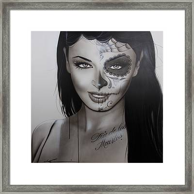 Sugar Skull - ' Spanish Dark Temptation ' Framed Print