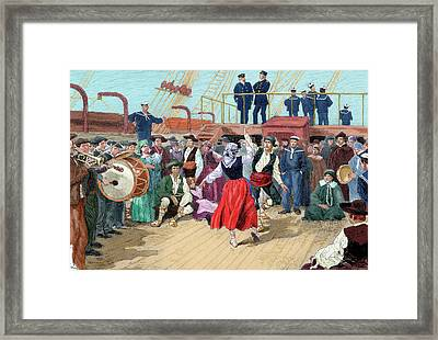 Spanish Emigrants On Board A Ship Framed Print by Prisma Archivo