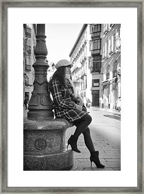 Waiting In This Spanish Street Framed Print