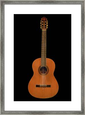 Spanish Guitar On Black Framed Print by Debra and Dave Vanderlaan