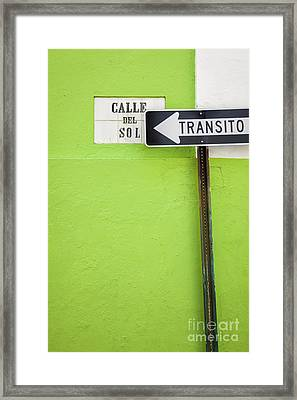 Spanish One Way Sign And Street Sign In Old San Juan Puerto Rico Framed Print