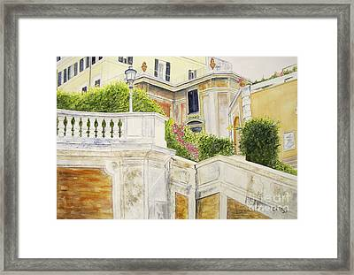 Framed Print featuring the painting Spanish Steps by Carol Flagg