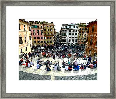 Spanish Steps Looking Down Framed Print