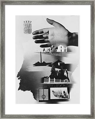 Spanish War Poster C1935-1942 The Protective Hand Of The State Shielding The Nation Framed Print by Anonymous