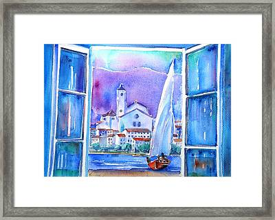 Spanish Window In Cadaques And The Church Of Santa Maria Framed Print by Trudi Doyle