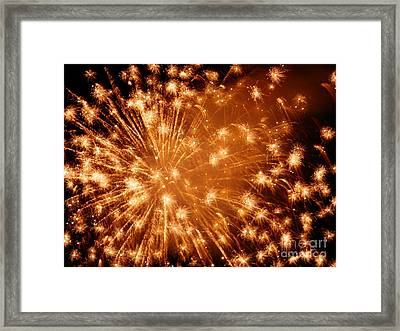 Sparkle Fireworks By Aclay Framed Print by Angelia Hodges Clay