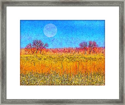 Framed Print featuring the digital art Moonlight Over Fields Of Gold - Boulder County Colorado by Joel Bruce Wallach