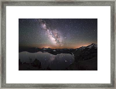 Sparkling Night In Crater Lake Framed Print