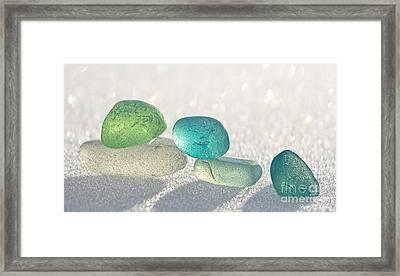 Sparkling Sea Glass Friends Framed Print by Barbara McMahon