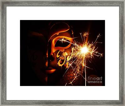 Sparklings Of Venetian Mask Framed Print