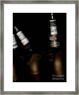 Sparkplugs On A Vintage Motorcycle Framed Print by Wilma  Birdwell
