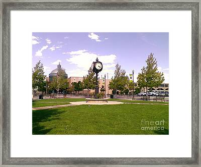 Framed Print featuring the photograph Sparks Community Clock by Bobbee Rickard