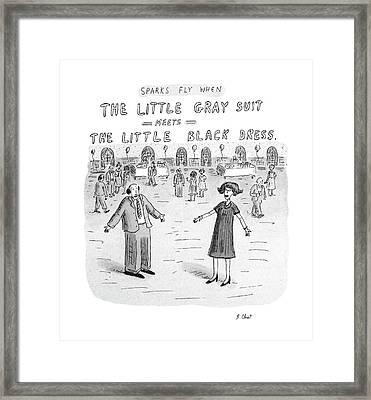 Sparks Fly When The Little Gray Suit Meets Framed Print