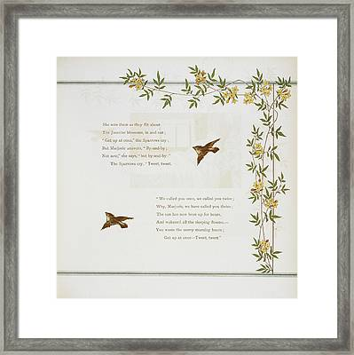 Sparrows And Jasmine Blossoms Framed Print by British Library