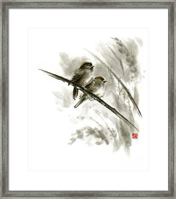 Sparrows Sumi-e Original Ink Painting Artwork Framed Print