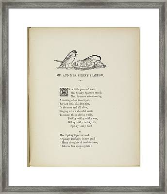 Sparrows With A Nest Of Baby Sparrows Framed Print by British Library