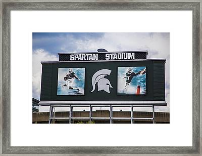 Spartan Stadium Scoreboard  Framed Print by John McGraw