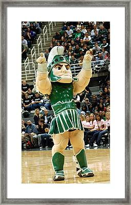 Sparty At Basketball Game  Framed Print