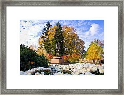 Sparty In Autumn  Framed Print