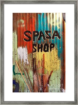 Spaza Shop Sign Framed Print by James Eddy
