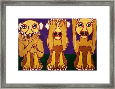 Speak No Evil See No Evil Hear No Evil Framed Print by Matthew Brzostoski