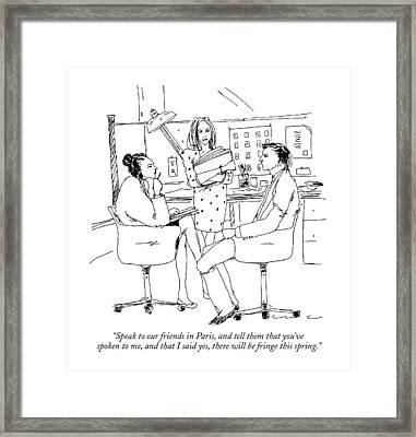 Speak To Our Friends In Paris Framed Print by Richard Cline
