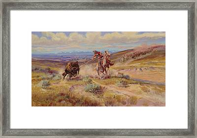 Spearing A Buffalo Framed Print by Charles Marion Russell