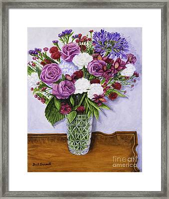 Special Bouquet In Crystal Vase On Heirloom Table Framed Print by Gail Darnell