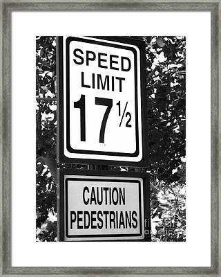 Specific Speed Limit Framed Print by Barbie Corbett-Newmin