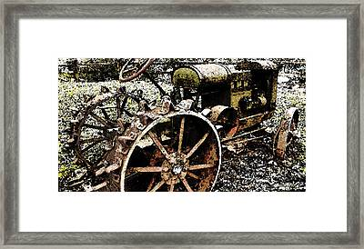 Speckled Antique Tractor Framed Print