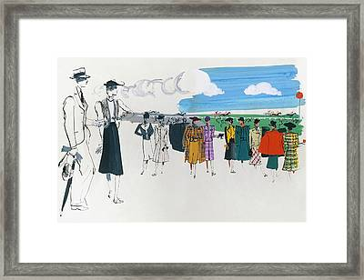 Spectators At A Horse Race Framed Print
