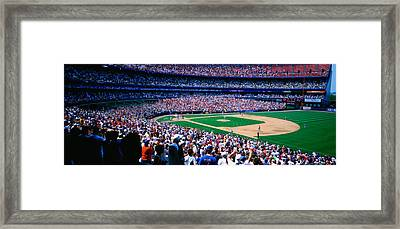 Spectators In A Baseball Stadium, Shea Framed Print