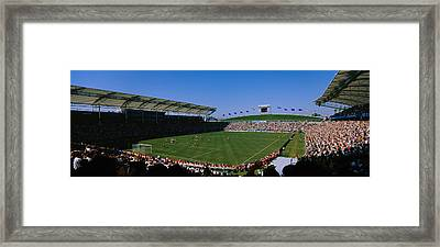 Spectators Watching A Soccer Match, Usa Framed Print by Panoramic Images