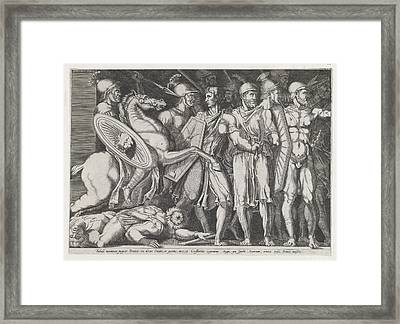 Speculum Romanae Magnificentiae Trajan Framed Print by Attributed to Marco Dente