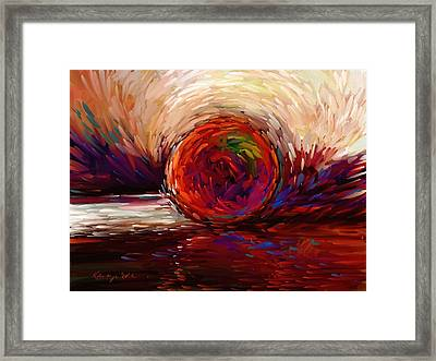 Speed - Dramatic Red And  Purple Abstract Print On Canvas Framed Print by Kanayo Ede