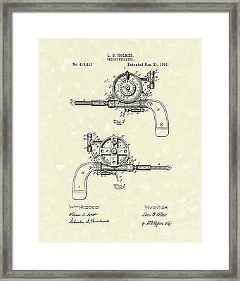 Speed Indicator 1889 Patent Art Framed Print by Prior Art Design