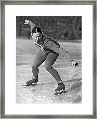 Speed Skater At Start Framed Print