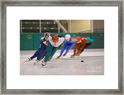 Speed Skaters Framed Print