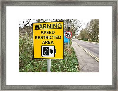 Speed Warning Framed Print by Tom Gowanlock
