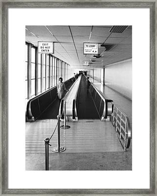 Speedwalk Conveyors At Sfo Framed Print by Underwood Archives