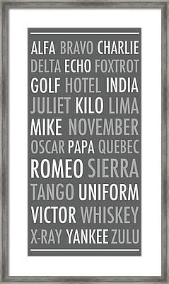 Spelling Alphabet Grey Framed Print by Anna Quach
