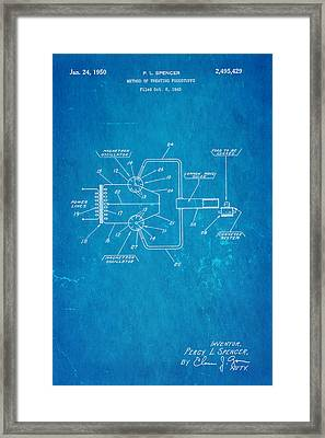 Spencer Microwave Patent Art 1950 Blueprint Framed Print by Ian Monk