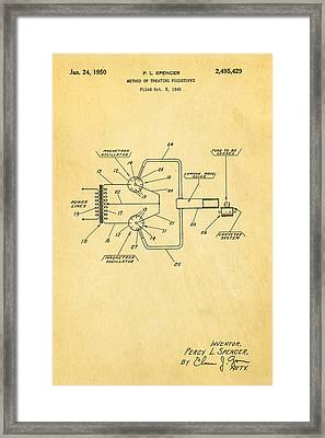 Spencer Microwave Patent Art 1950  Framed Print by Ian Monk
