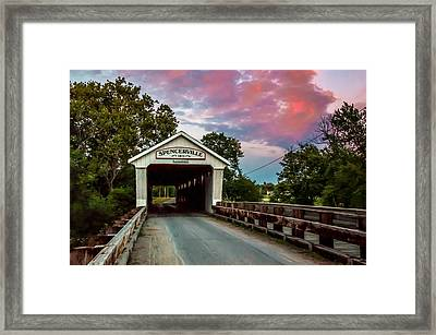 Spencerville Covered Bridge At Sunset Framed Print