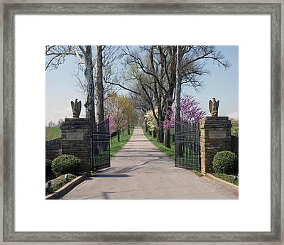 Spendthrift Farm Entrance Framed Print by Roger Potts