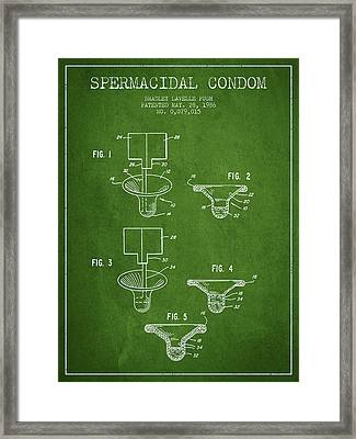 Spermacidal Condom Patent From 1986 - Green Framed Print